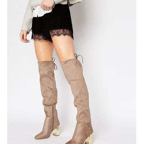 wide fit suedette tie back over the knee boot with metal block heel - brown marki New look