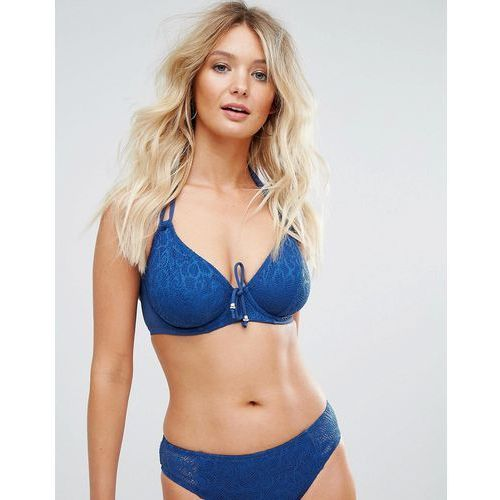 Pour moi crochet halter underwired bikini top c-g cup - navy