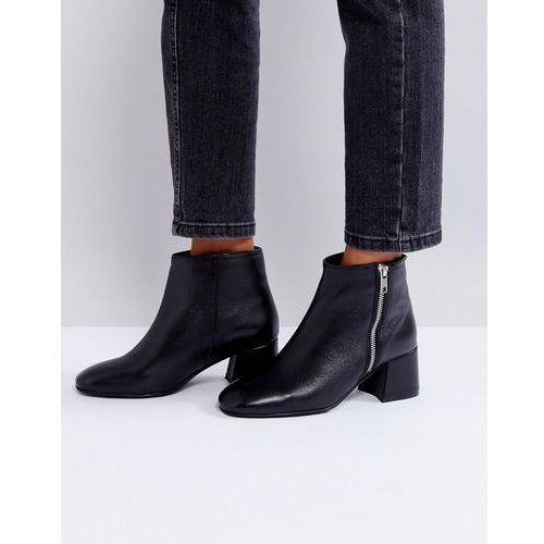Park Lane Zip Mid Heel Leather Boot - Black
