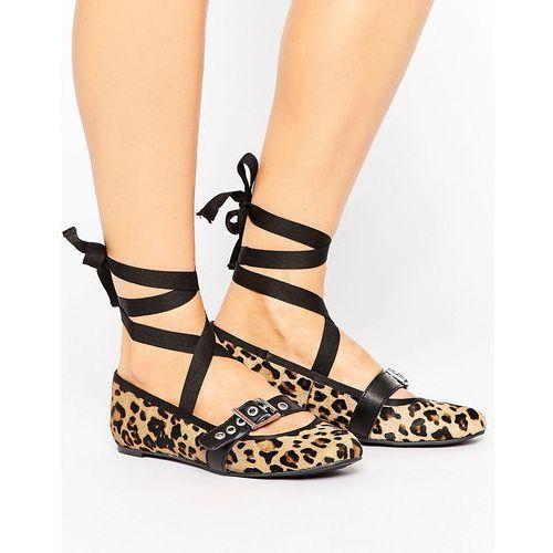 leopard leather strap ballerina - brown, Park lane