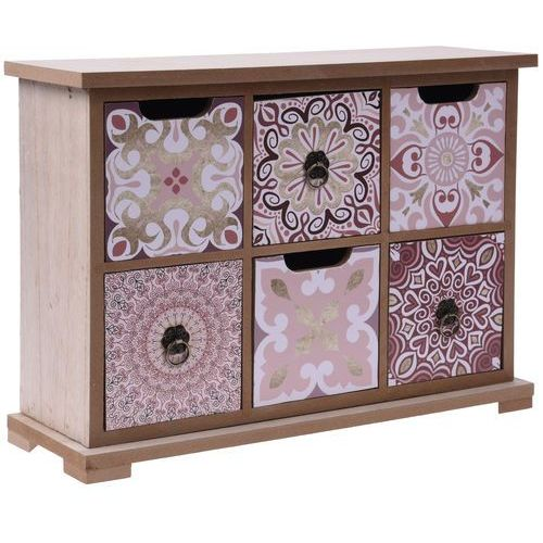Home styling collection Drewniana szafka z szufladkami na drobiazgi kyra design, 6 przegródek