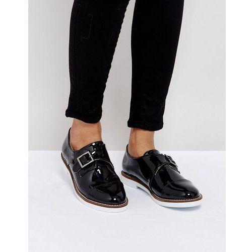 buckle monk shoe on white sole - black marki London rebel