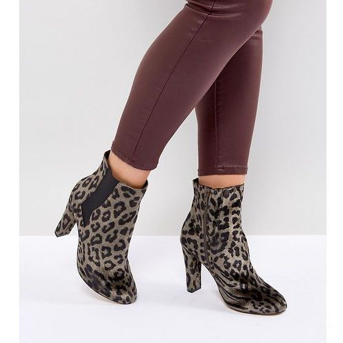 River Island Wide Fit Leopard Print Heeled Ankle Boots - Multi, ankle