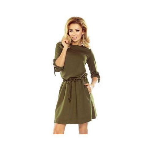 176-2 ewa - sukienka sportowa z wiązaniami na rękawkach - khaki zielony militarny marki Numoco