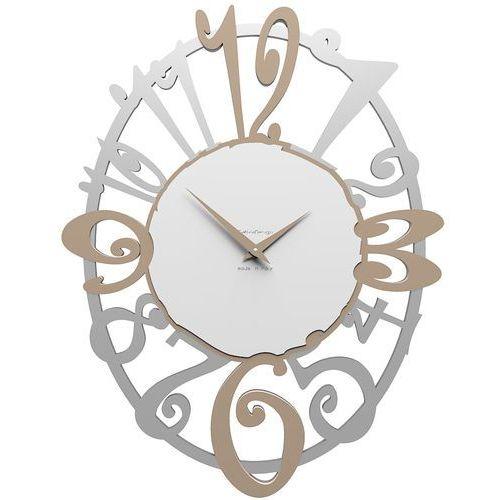 Calleadesign Owalny zegar ścienny michelle aluminium / caffelatte / biały (10-129-14)