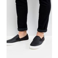 underspin slip on leather trainers in black - black marki Fred perry