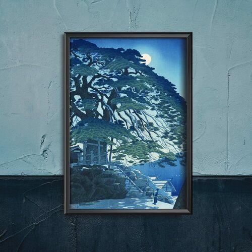 Retro plakat Retro plakat Sosny w Yudanaka Hot Spring autorstwa Kasamatsu Shiro