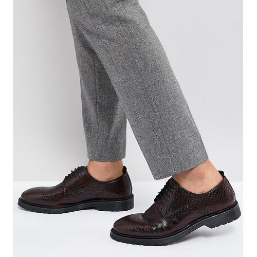 wide fit lace up derby shoes in burgundy leather with ribbed sole - red, Asos