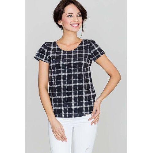 Czarna bluzka w kratę z krótkim rękawem marki Katrus
