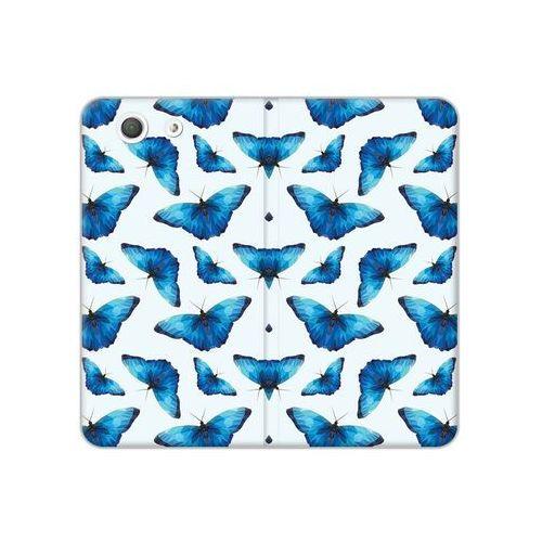 Sony Xperia Z3 Compact - etui na telefon Flex Book Fantastic - niebieskie motyle, kolor niebieski