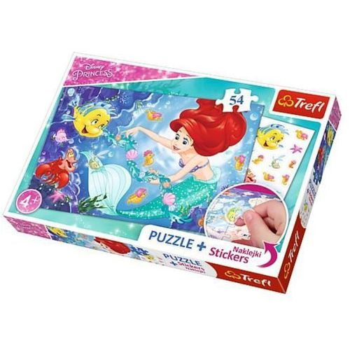 Puzzle Plus 54 + Naklejki Arielka wśród rybek (5900511751147)