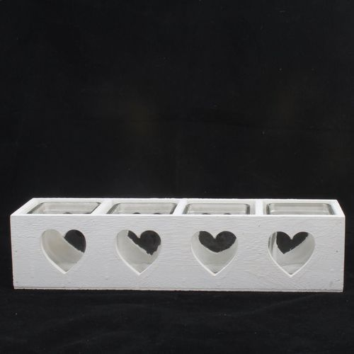Dakls drewniany świecznik na 4 świeczki serce, biały marki 4home