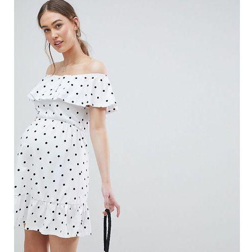 Asos design maternity off shoulder sundress with tiered skirt in polka dot - multi marki Asos maternity