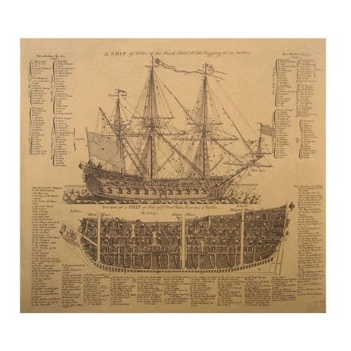 Obraz Plany Żaglowca Vintage Sailing Vessel Plans