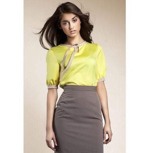 Subtelna bluzeczka z wstążką - żółty - b21, Nife, 36-44