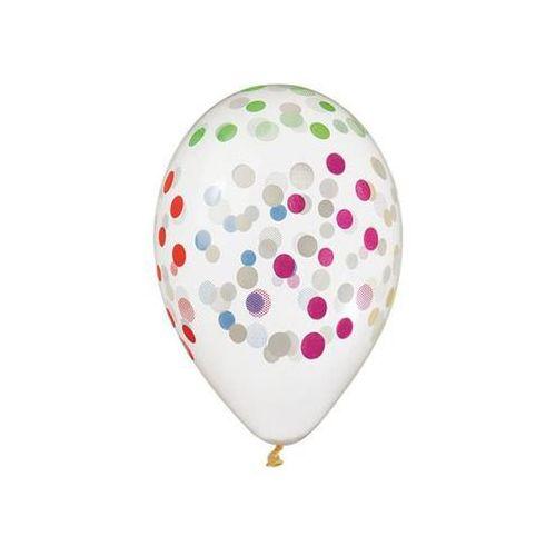 Balony przezroczyste w kolorowe kropki - 33 cm - 5 szt. (8021886319187)