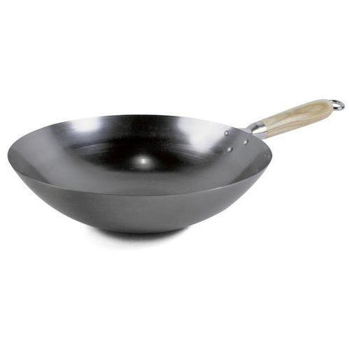 Merx team Patelnia stalowa wok z zaokrąglonym dnem i drewnianym uchwytem, średnica 33cm, exxent 63299