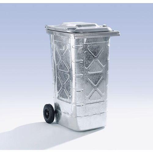 Duży pojemnik na odpady z ocynkowanej ogniowo blachy stalowej, wg DIN EN 840, ru