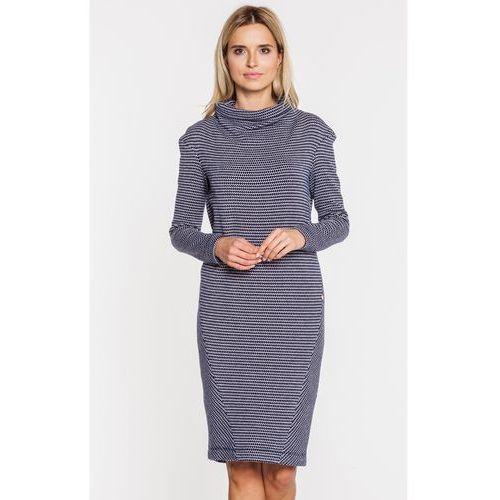 Granatowa sukienka z golfikiem - SU, kolor niebieski