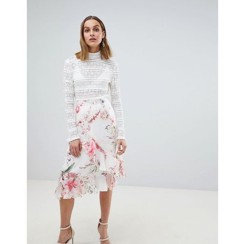 River Island Floral Frill Split Front Midi Skirt - Cream