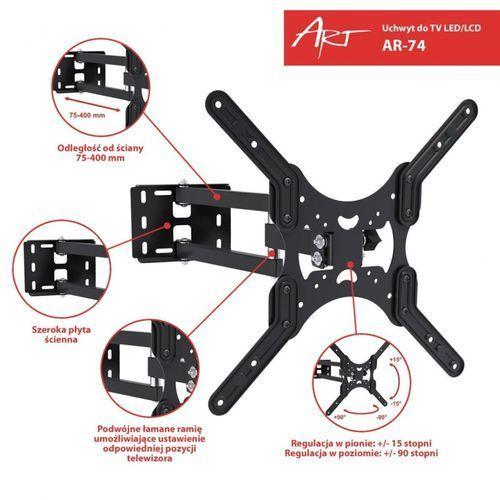 """ART Uchwyt do TV LED/LCD 19-50"""" 35KG AR-74 reg.pion/poziom, 482020"""