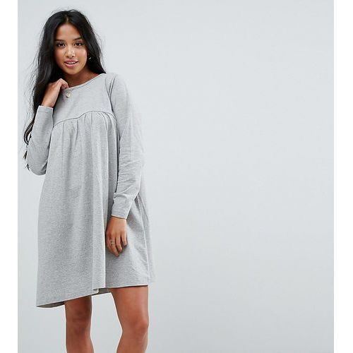 ultimate smock dress with long sleeve - grey, Asos petite