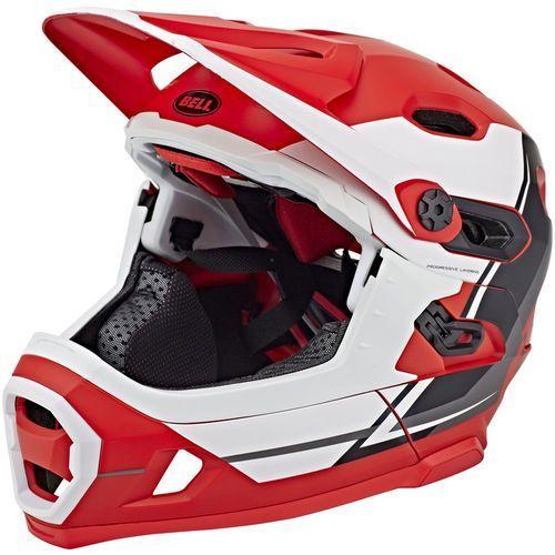 Bell super dh mips kask rowerowy czerwony/biały m   55-59cm 2018 kaski fullface i downhill