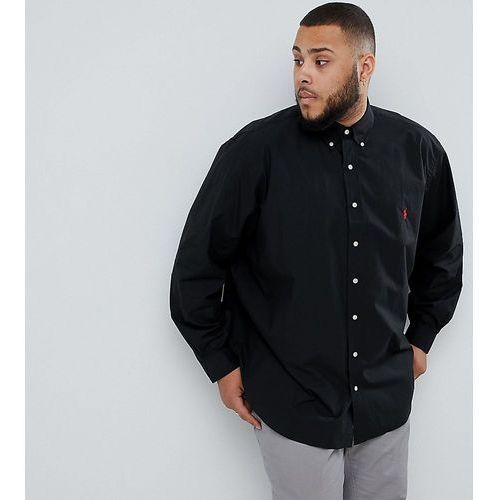 big & tall poplin shirt player logo button down in black - black marki Polo ralph lauren