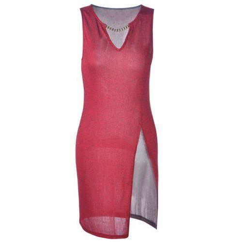 Rosewholesale Fashionable fitted v-neck slit mini dress for women