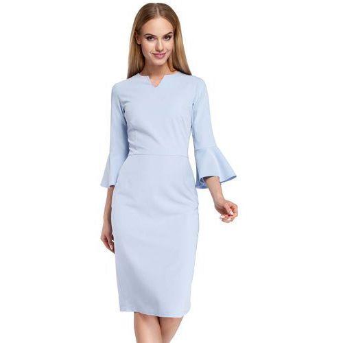 Błękitna Sukienka Ołówkowa Midi z Hiszpańskim Rękawkiem, w 5 rozmiarach