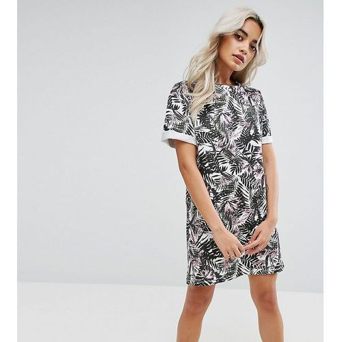 Asos petite ultimate t-shirt dress with rolled sleeves in floral print - multi