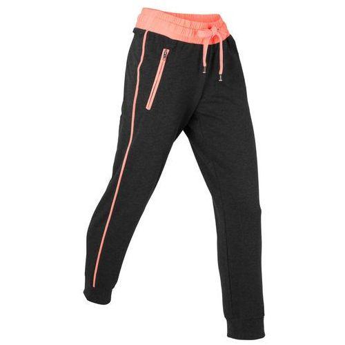 Spodnie sportowe, dł. 7/8, Level 1 bonprix czarno-łososiowy neonowy melanż
