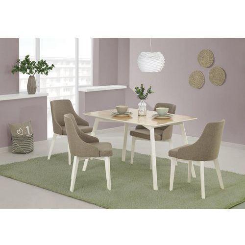 Fornirowany stół petrus na białych drewnianych nogach marki Halmar