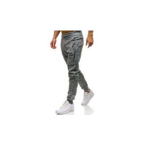 Spodnie męskie dresowe joggery szare Denley HL8438, kolor szary