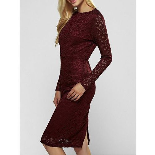 Long Sleeve Lace Bodycon Dress, kolor czerwony