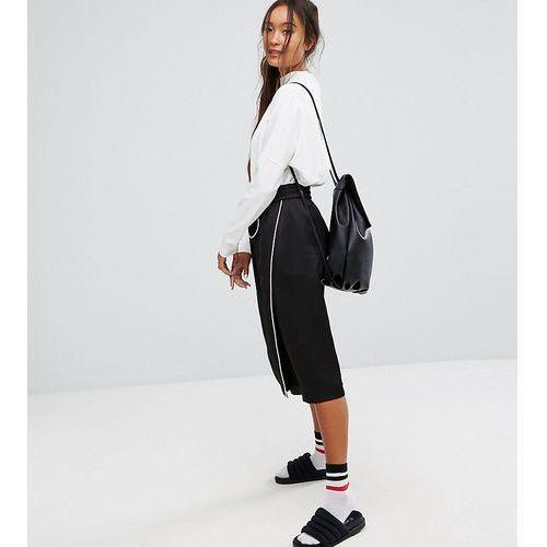 Monki Aysemetric Contrast Midi Skirt - Black