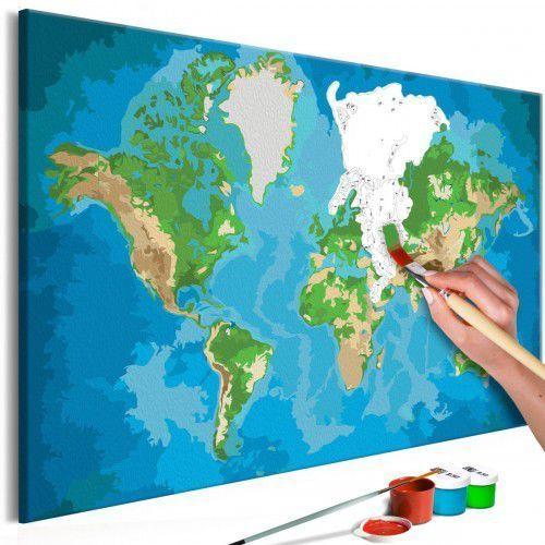 Obraz do samodzielnego malowania - mapa świata (niebiesko-zielona) marki Artgeist