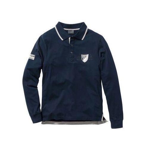 Shirt polo z długim rękawem Regular Fit bonprix ciemnoniebieski, kolor niebieski