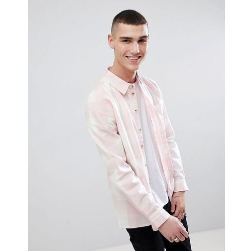 long sleeve brushed cotton check shirt - pink, Another influence, S-XL