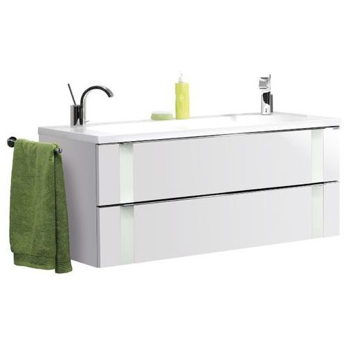 Biała szafka z podwójną umywalką Vedro 120 cm - 120 cm \ Biały wysoki połysk \ Miętowa
