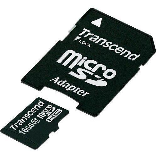 Karta pamięci microSDHC Transcend, 16 GB, class 10, 30 MB/s / 12 MB/s, adapter SD
