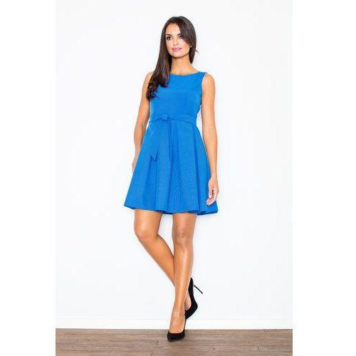 Niebieska Szykowna Sukienka z Paskiem Kontrafałda, w 4 rozmiarach