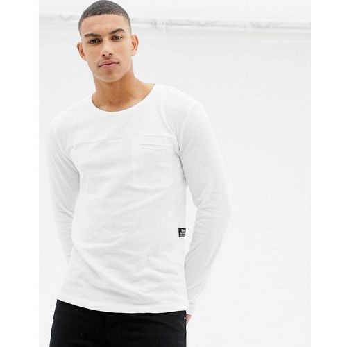 Tom Tailor 100% cotton long sleeve knitted top in with pocket in white - White, bawełna