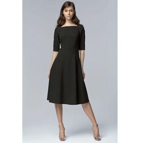 Czarna Wizytowa Midi Sukienka z Szerokim Dołem z Rękawem 1/2, w 5 rozmiarach