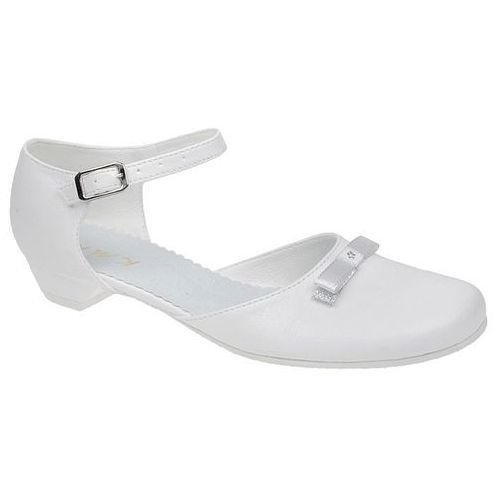 Pantofelki buty komunijne dla dziewczynki KMK 162 Białe - Biały