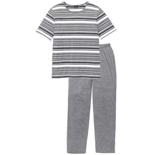 Piżama bonprix szary melanż w paski, bawełna