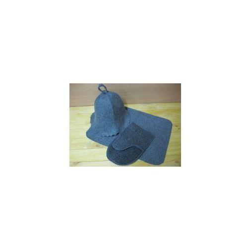 Produkcja własna Zestaw sauniarza szary - czapka rękawica ręczniczek