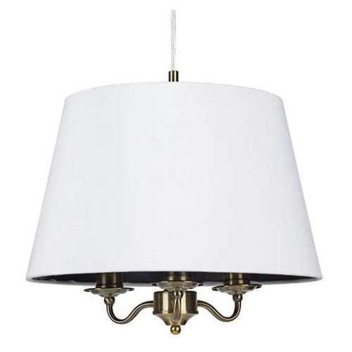 Lampa wisząca jamie 107533 abażurowa oprawa klasyczny zwis okrągły mosiądz biała marki Markslojd