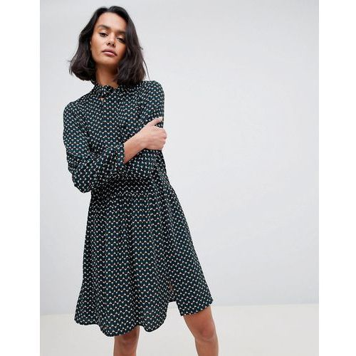 See U Soon Geo Print Dress with PussyBow - Green