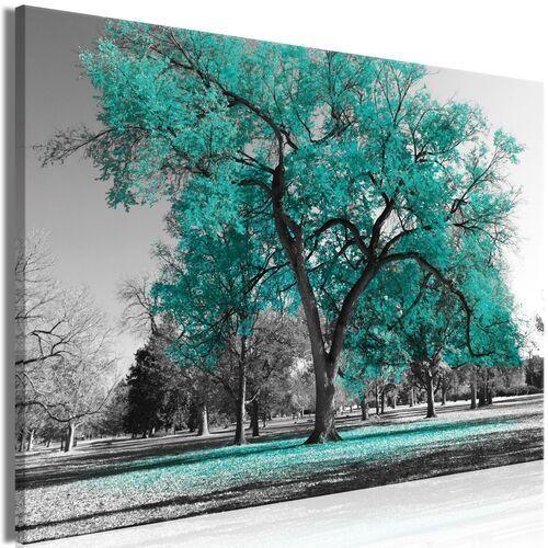 Obraz - Jesień w parku (1-częściowy) szeroki turkusowy